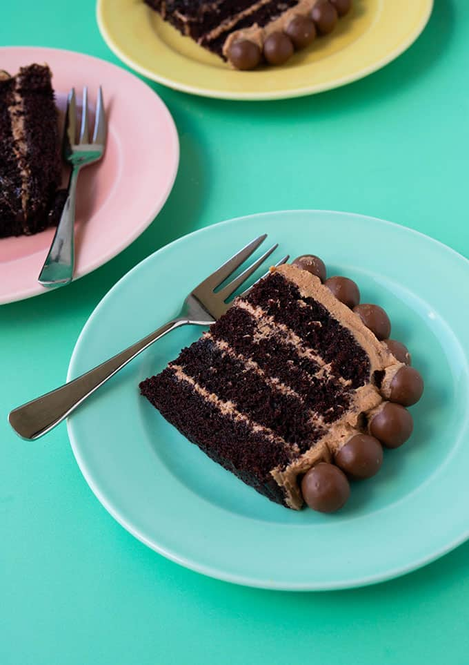 Homemade chocolate cake on colourful party plates
