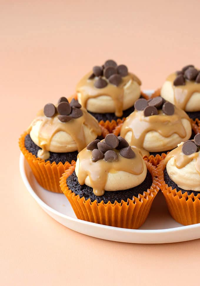 A plate of homemade Peanut Butter Chocolate Cupcakes
