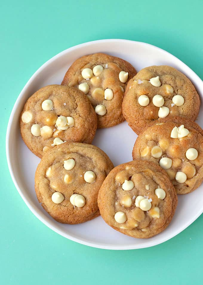 Top view of a plate of White Chocolate Chip Cookies