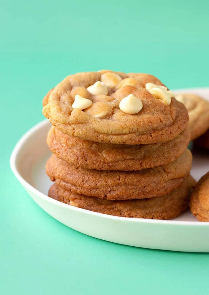 A stack of White Chocolate Chip Cookies