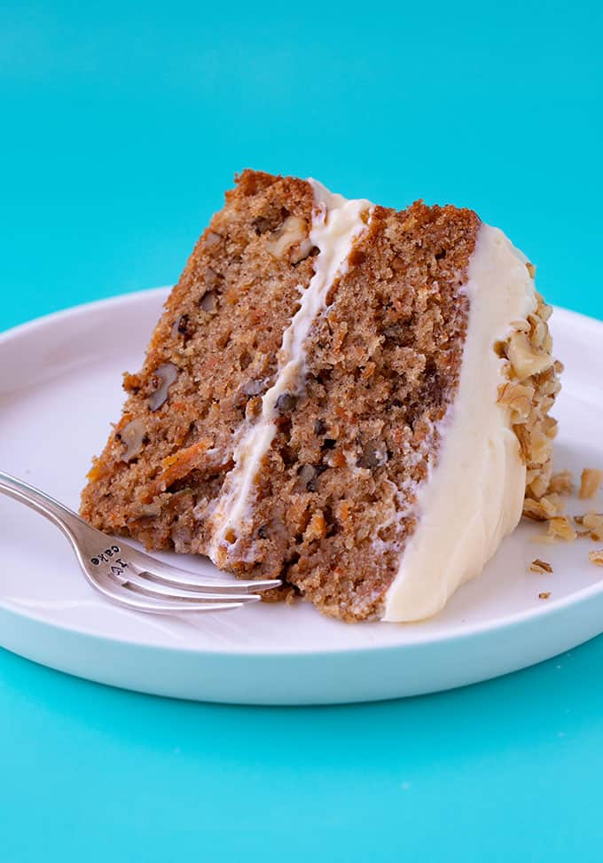A close up of a piece of homemade Carrot Cake