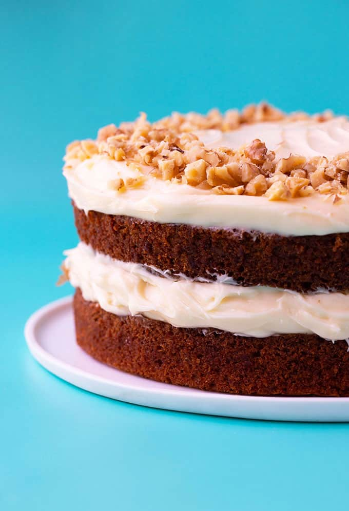 A homemade two layer Carrot Cake