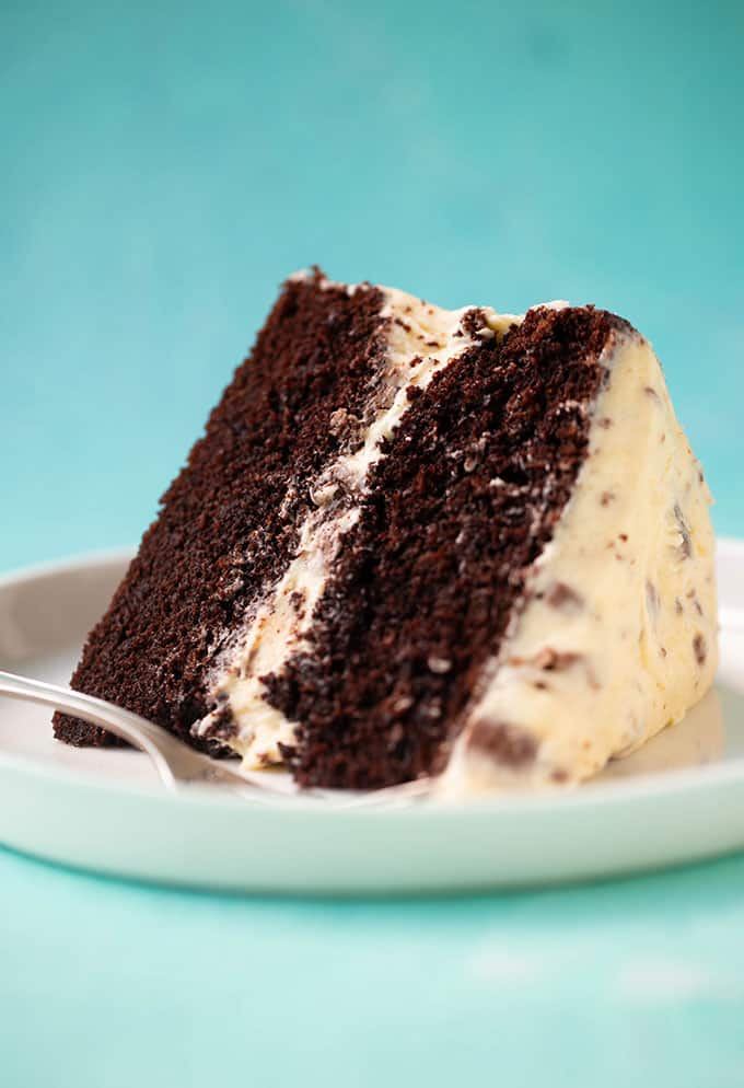 Close up of a slice of Creme Egg Chocolate Cake