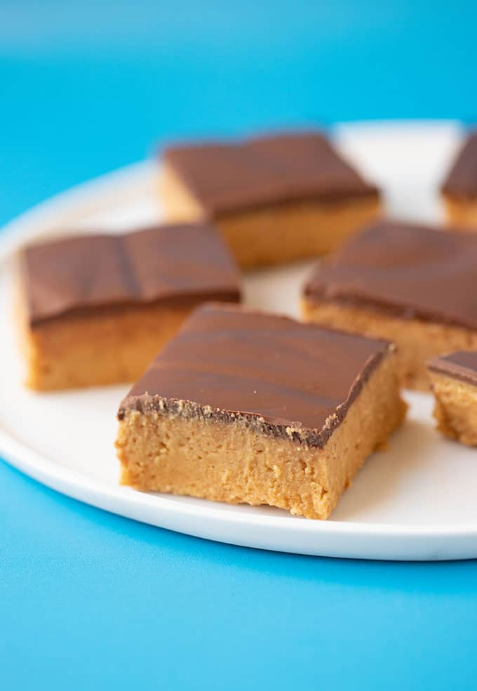 A plate of no bake peanut butter bars