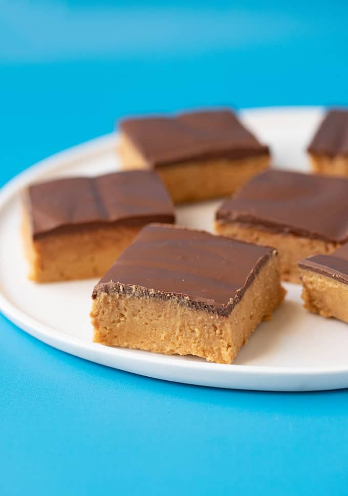 Close up of a no bake peanut butter bar