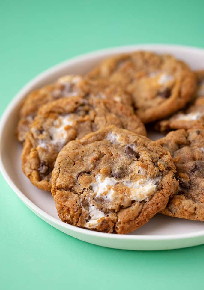 A plate of homemade Cornflake Marshmallow Cookies