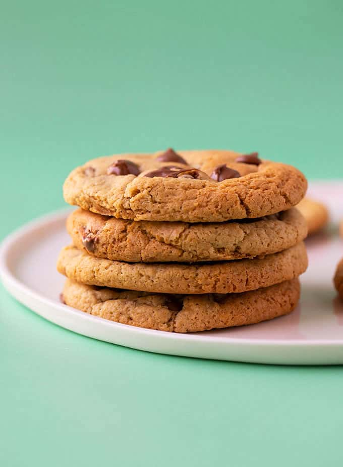 A stack of gluten free chocolate chip cookies