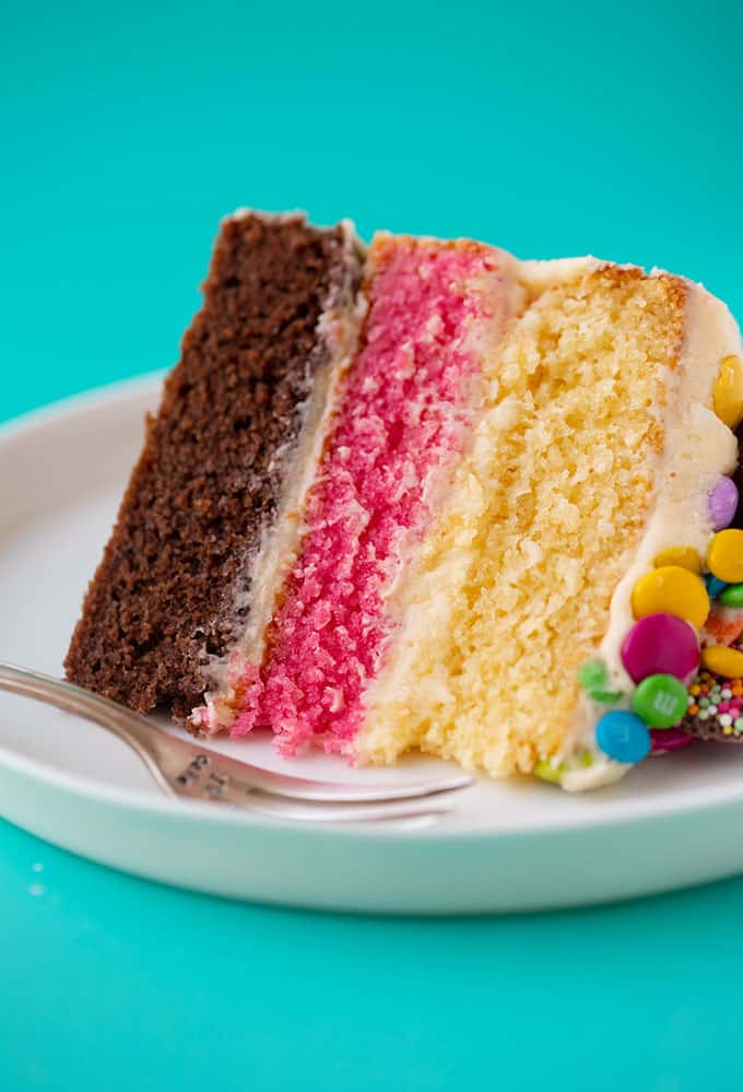 Close up of a three layer Neapolitan Cake
