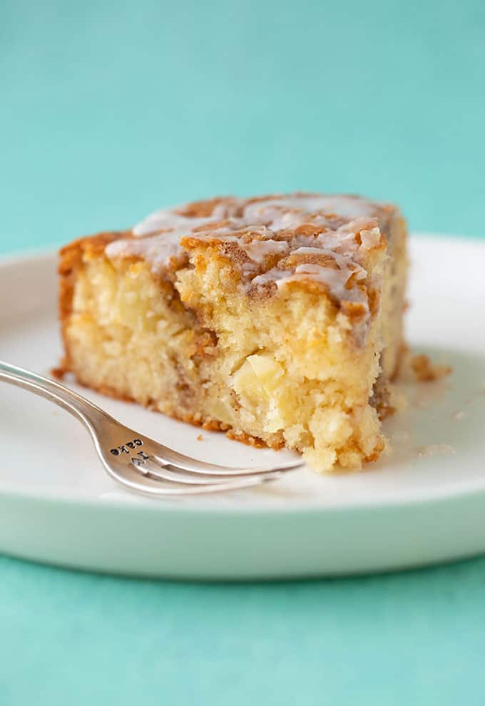 A slice of homemade Cinnamon Apple Cake