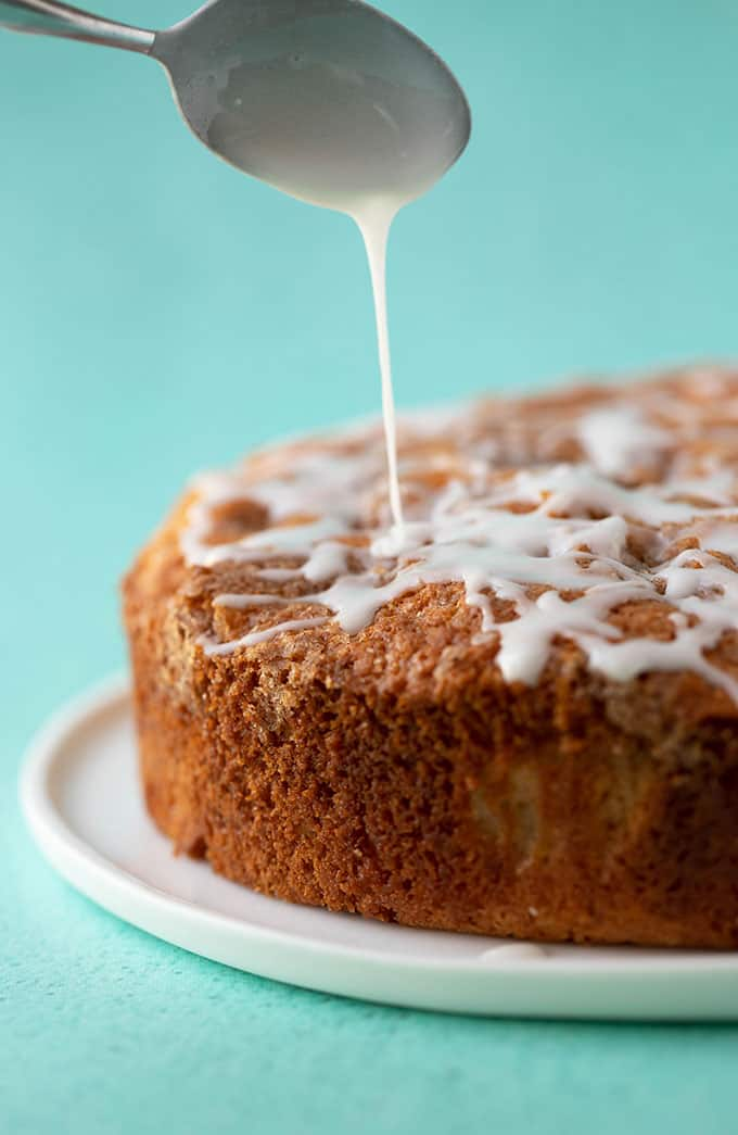 Apple Cake drizzled with sweet frosting