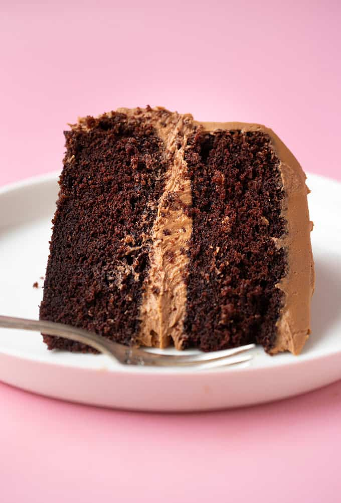 A close up of a slice of Chocolate Fudge Cake