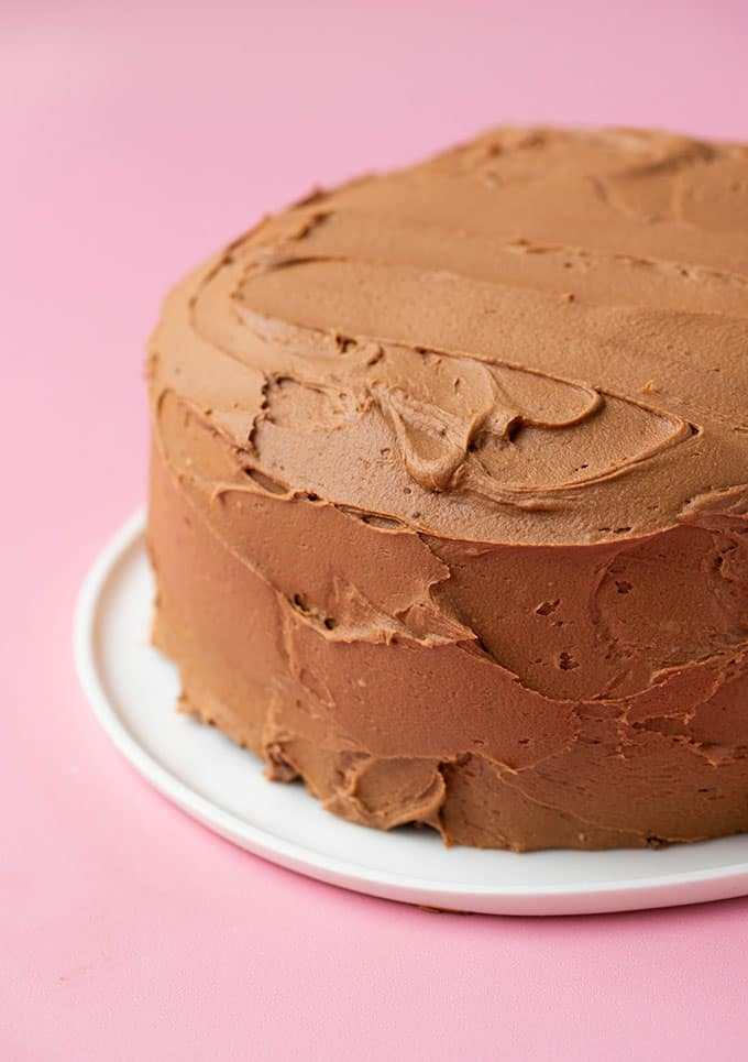 A cake covered in chocolate buttercream