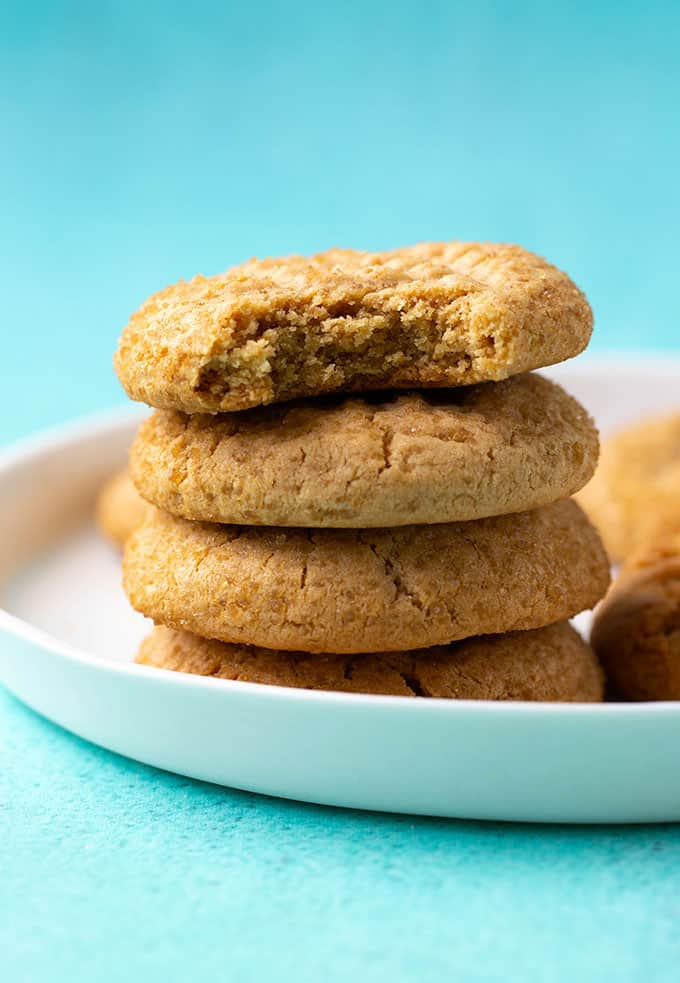 A stack of Peanut Butter Cookies on a white plate