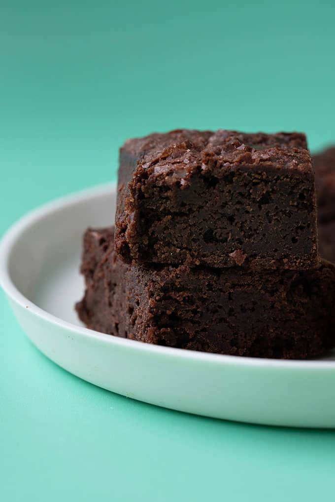 A close up of a Vegan Brownies on a white plate