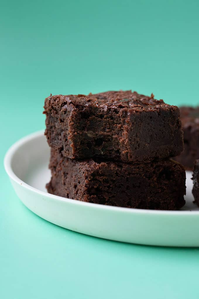Fudgy brownies with a bite taken out of it