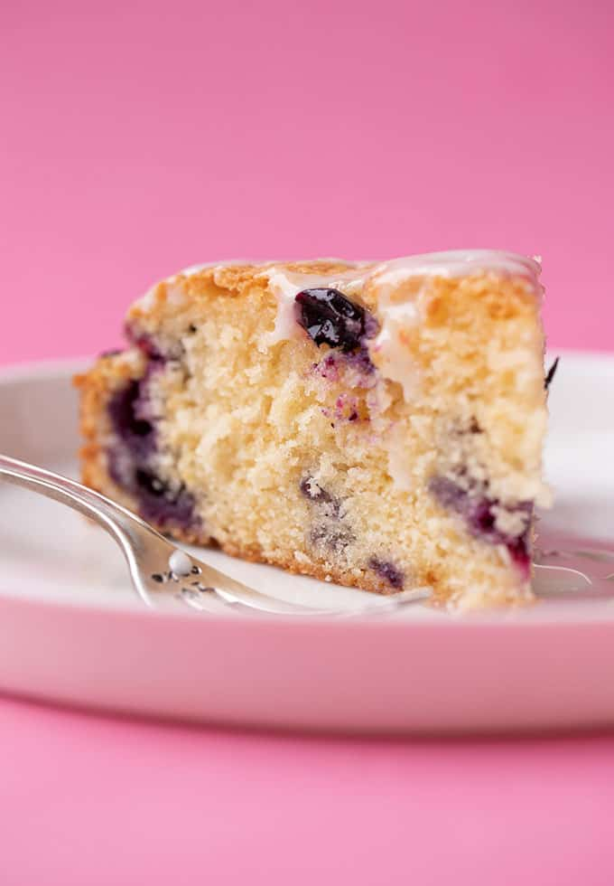 A close up of a slice of Blueberry Cake
