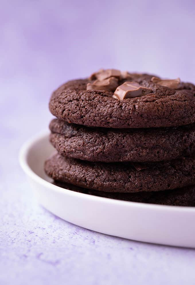 A stack of homemade Chocolate Fudge Cookies