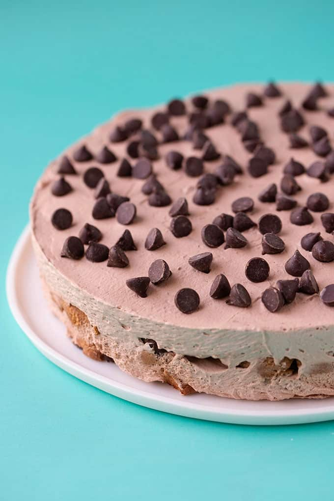 A Chocolate Chip Cookie Icebox Cake topped with chocolate chips
