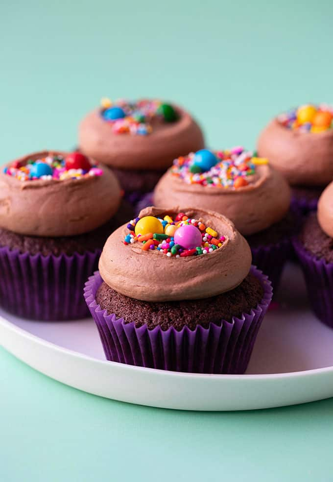 A plate of homemade chocolate cupcakes topped with funfetti