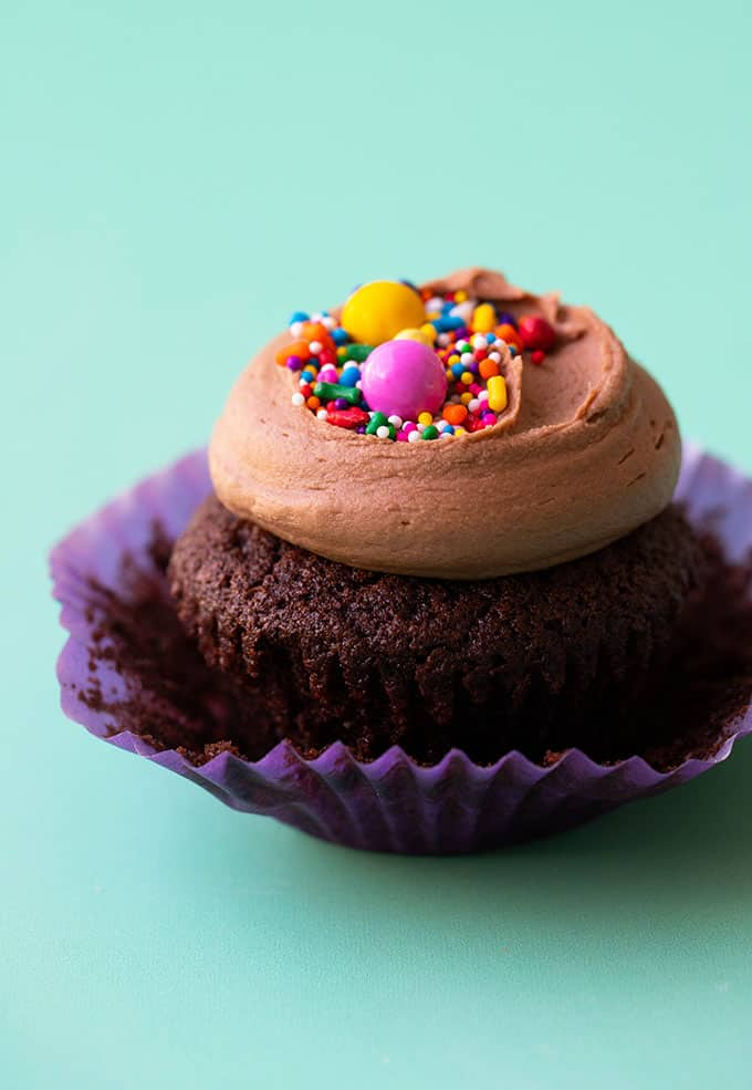 Close up of a homemade chocolate cupcake topped with sprinkles