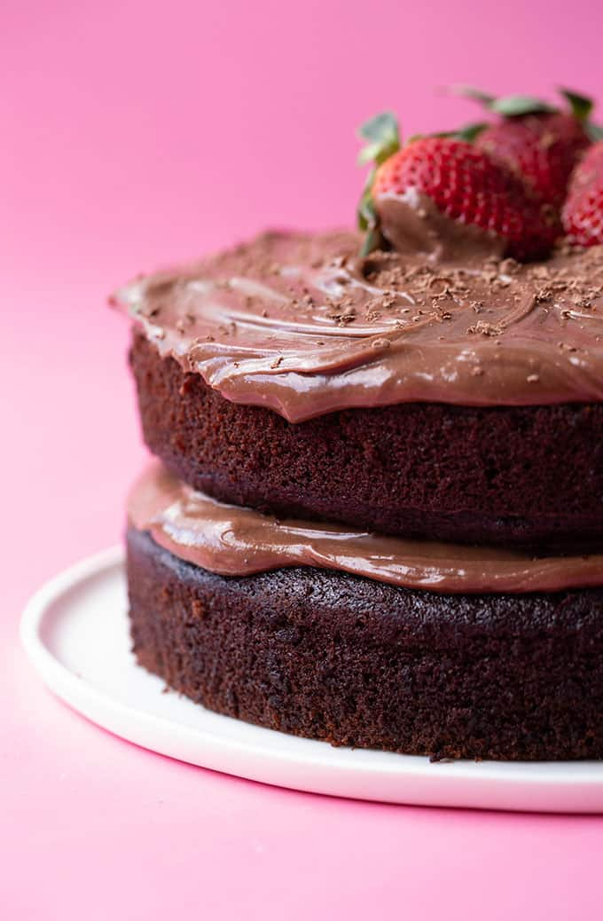 Close up of a two layer Chocolate Olive Oil Cake
