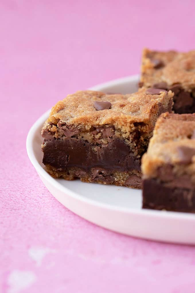 A plate of Fudge Stuffed Cookie Bars