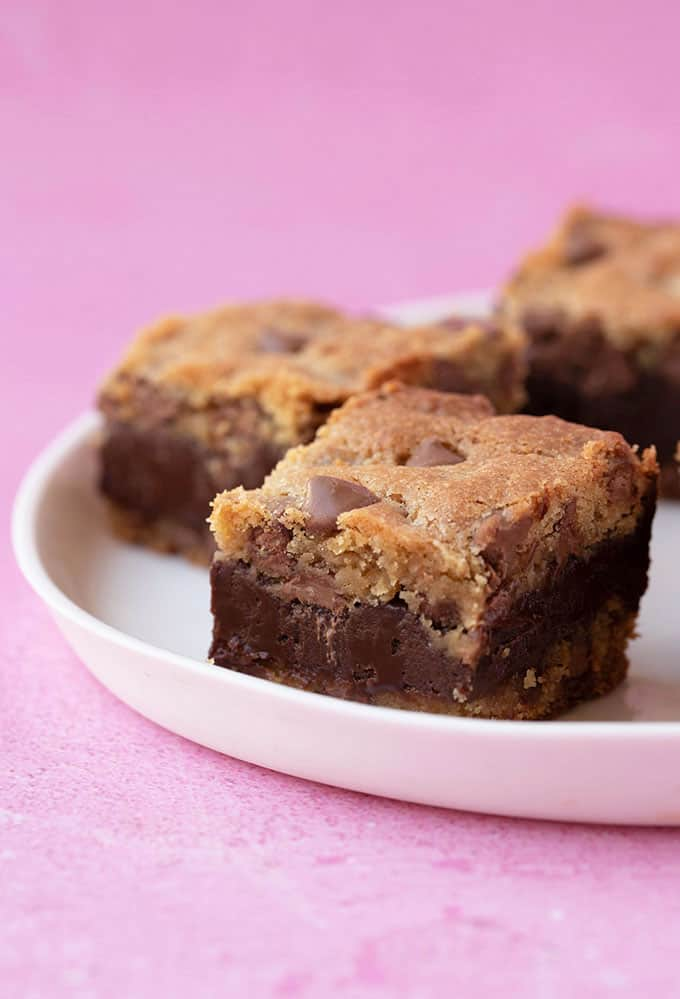 Fudge Stuffed Cookie Bars on a white plate
