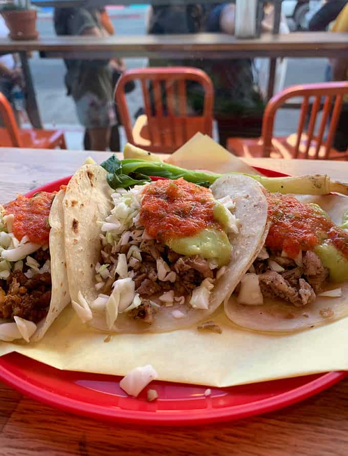 A plate of tacos from Sonora Town in Los Angeles
