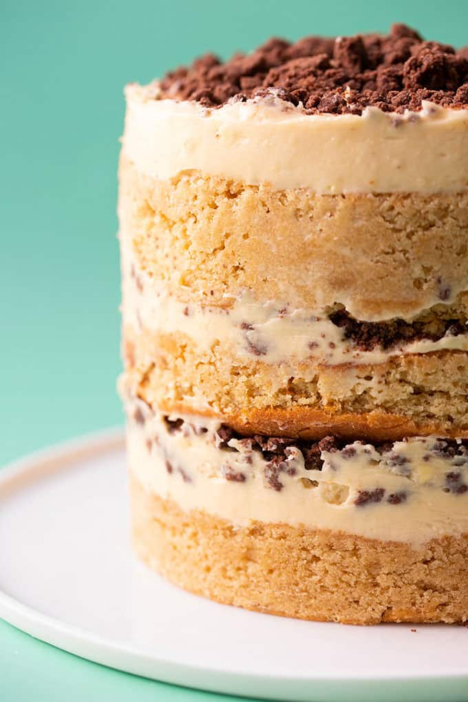 Close up of a three layer peanut butter cake