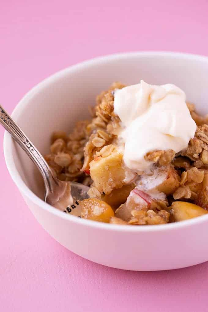 A bowl of homemade Apple Crumble