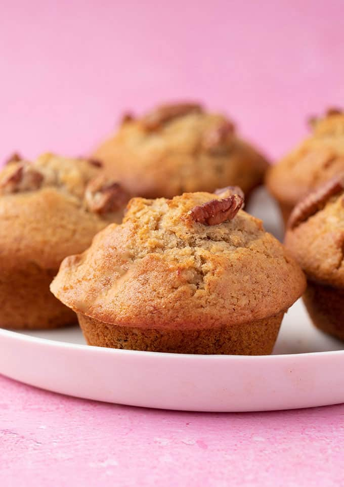 A plate of homemade Banana Nut Muffins