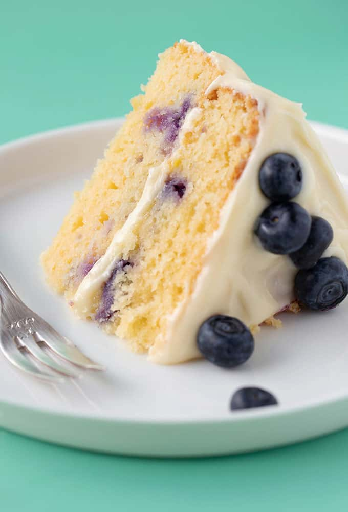 A two layer Lemon Blueberry Cake on a white plate