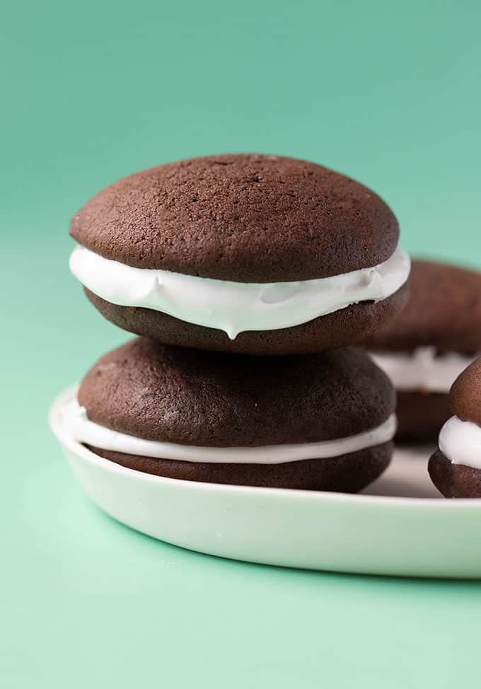 A stack of homemade chocolate whoopie pies