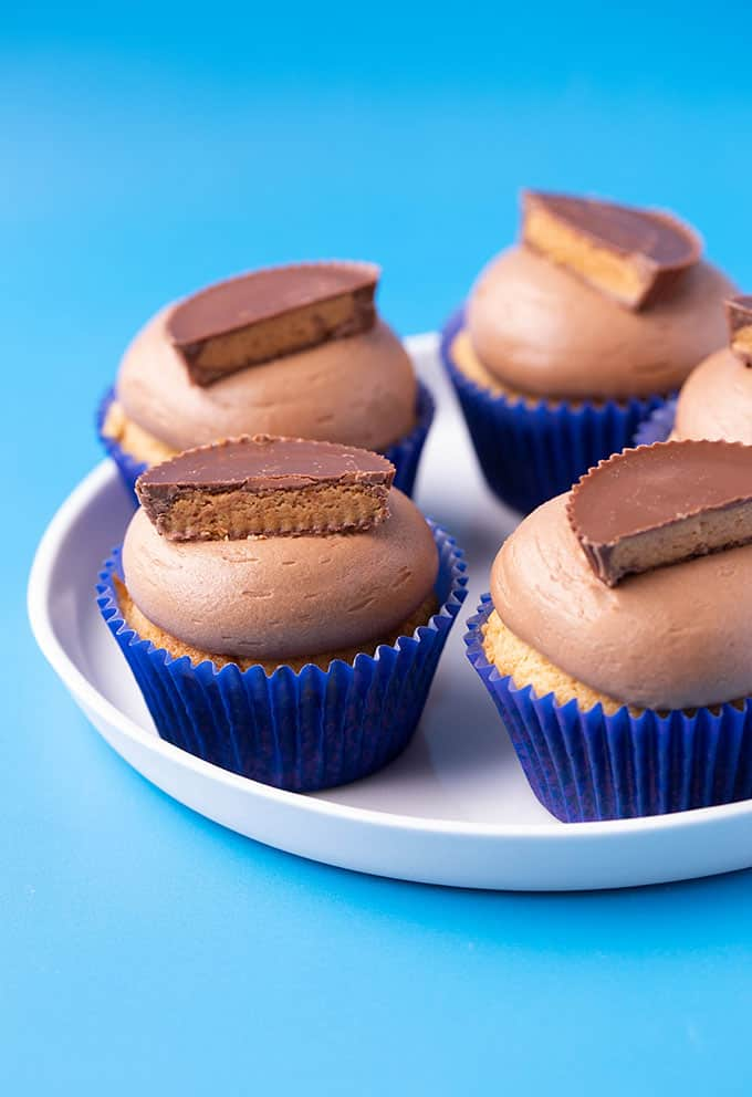 A white plate of peanut butter cupcakes topped with Reese's pb cups