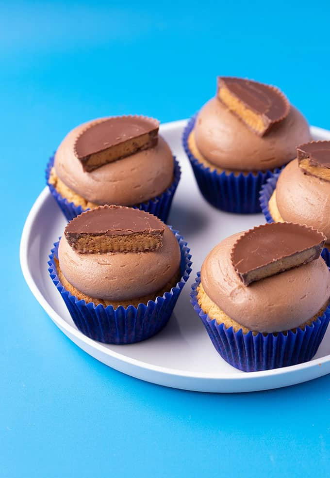 A white plate of homemade peanut butter cupcakes on a blue background