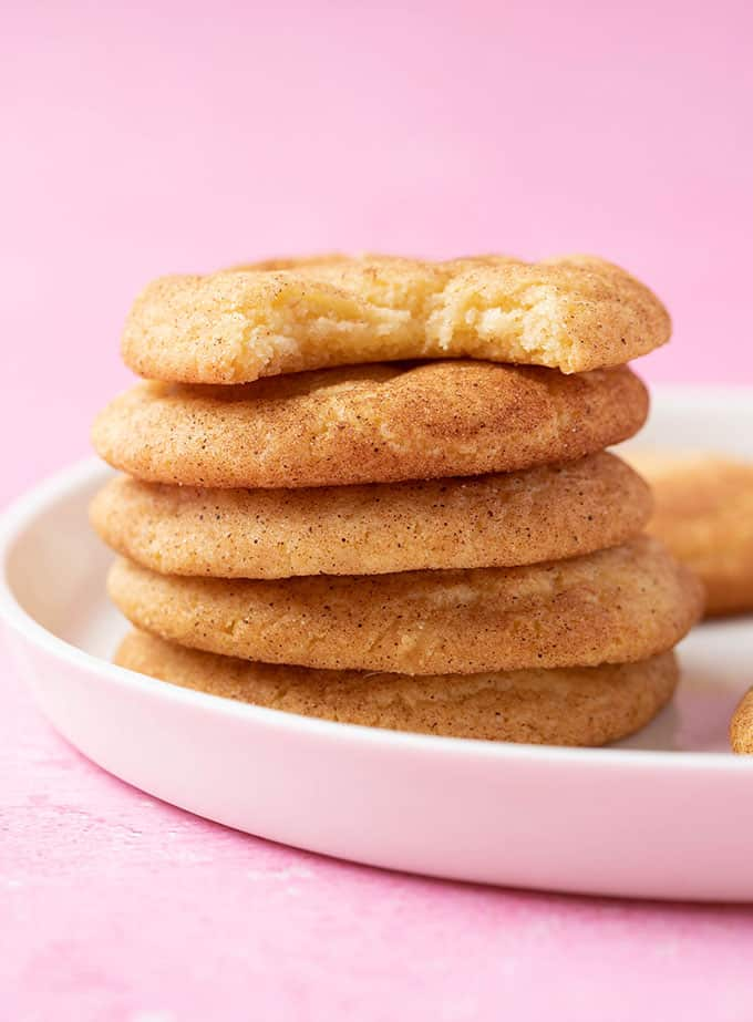 A tall stack of homemade Snickerdoodle Cookies