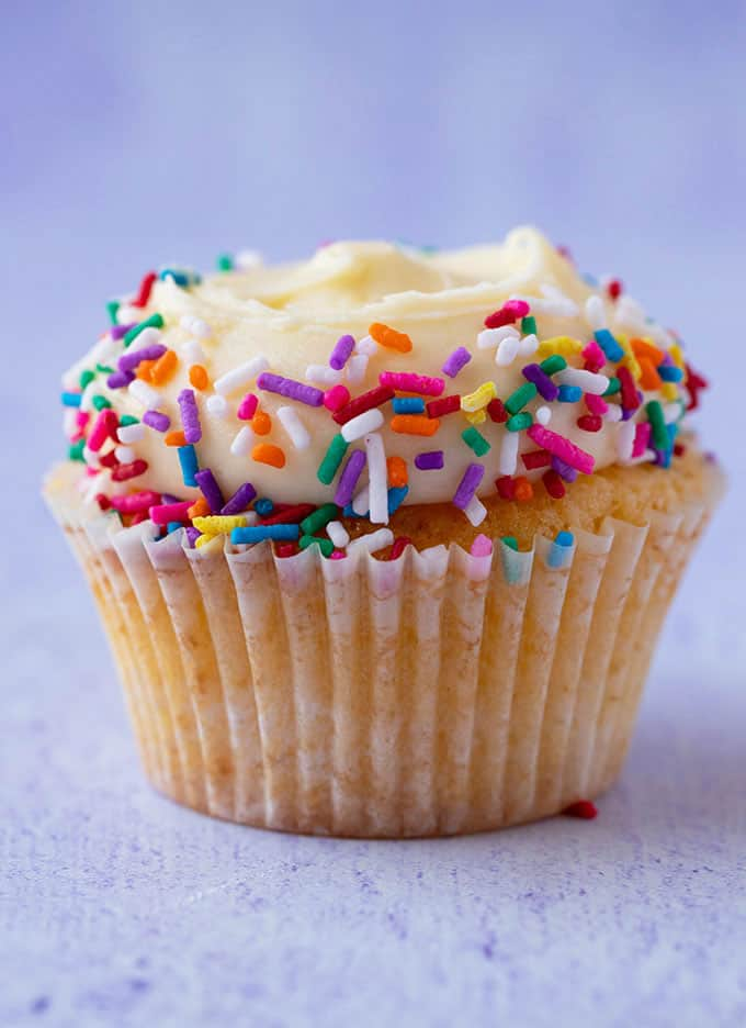 A Vanilla Cupcake topped with sprinkles on a purple background