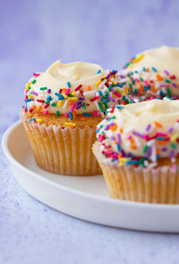 A plate of Vanilla Cupcakes