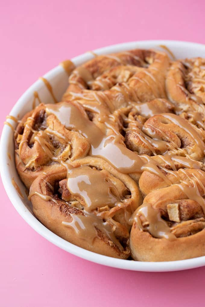 A plate of Caramel Apple Cinnamon Rolls fresh from the oven