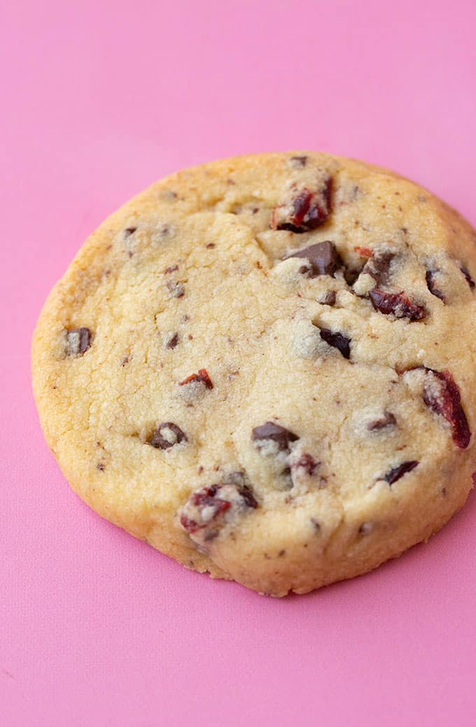 A close up view of a chocolate cranberry shortbread cookie