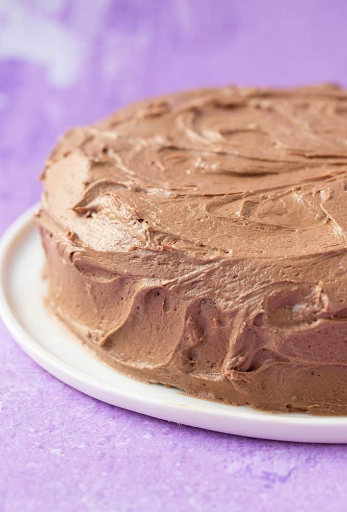 A chocolate frosted gluten free cake