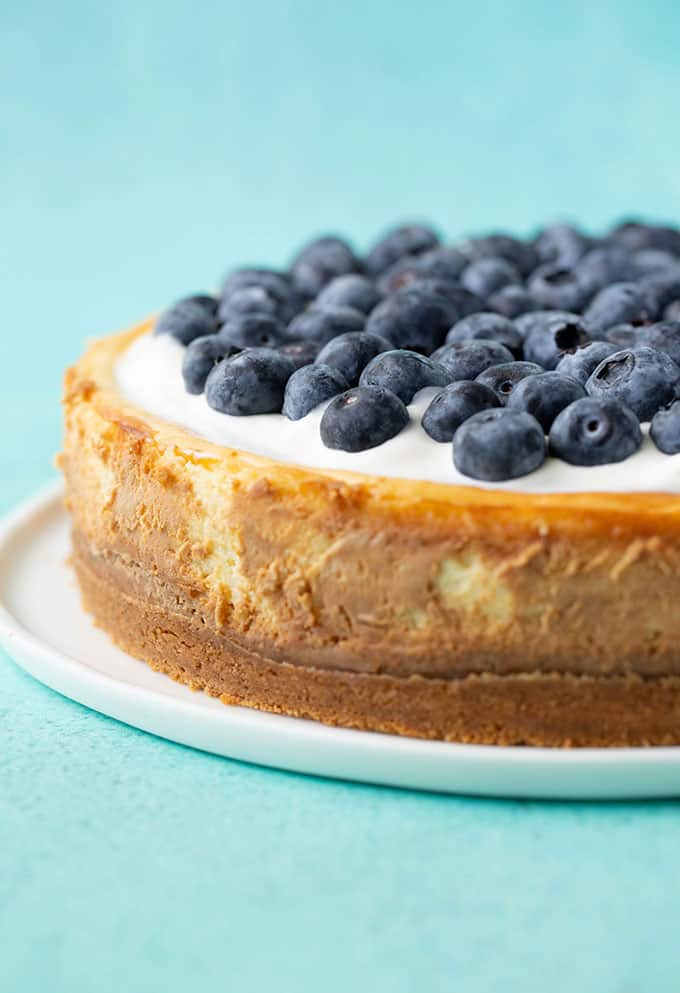 A Baked Lemon Cheesecake covered in fresh blueberries