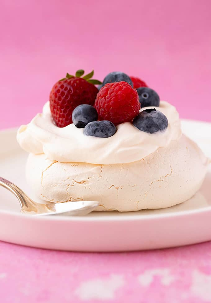 Homemade Mini Pavlovas on a white plate