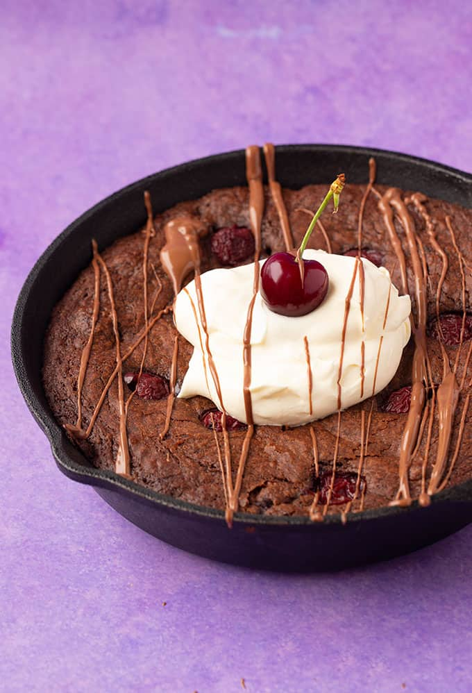 A big Black Forest Brownie in a skillet