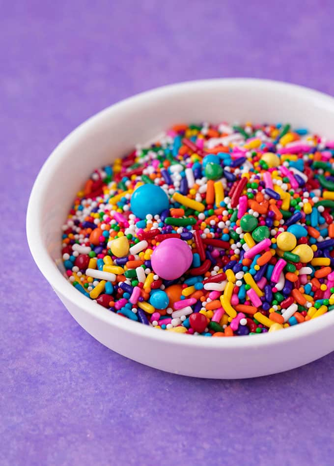 A small bowl of funfetti sprinkles