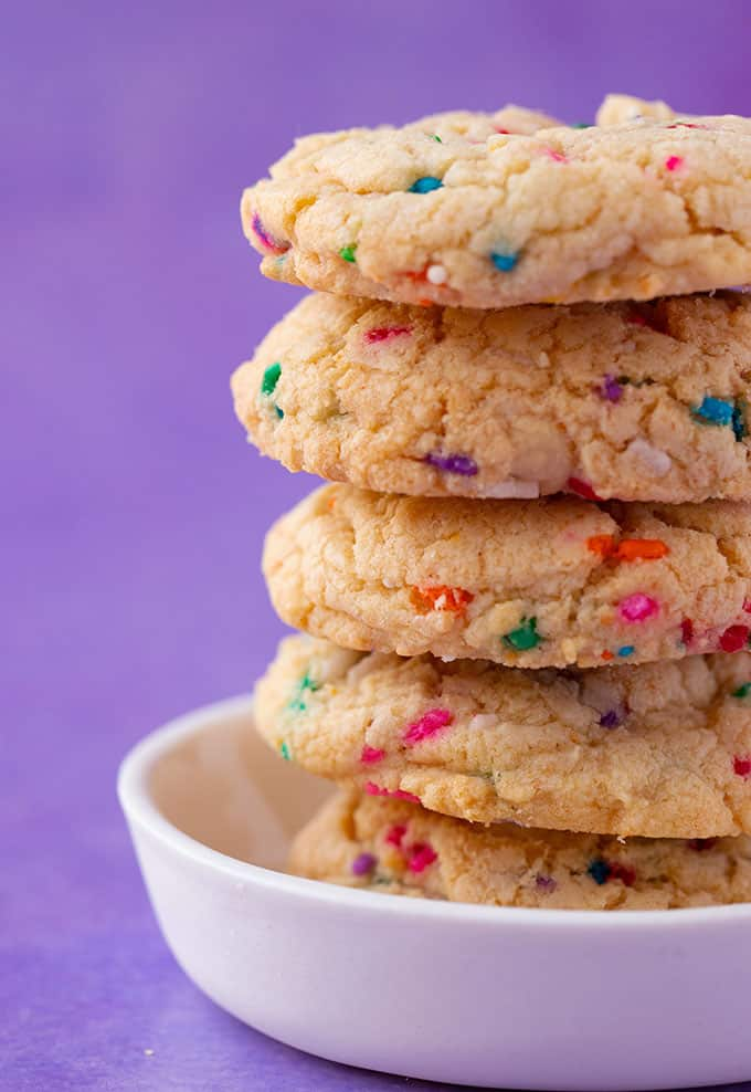 Close up of a tall stack of Cake Batter Cookies