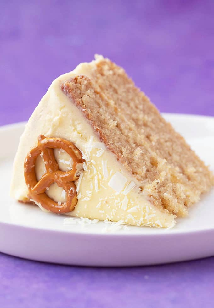 Close up of a slice of Eggnog Cake