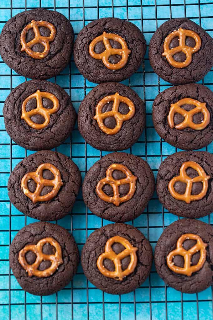 Top view of homemade Chocolate Pretzel Cookies