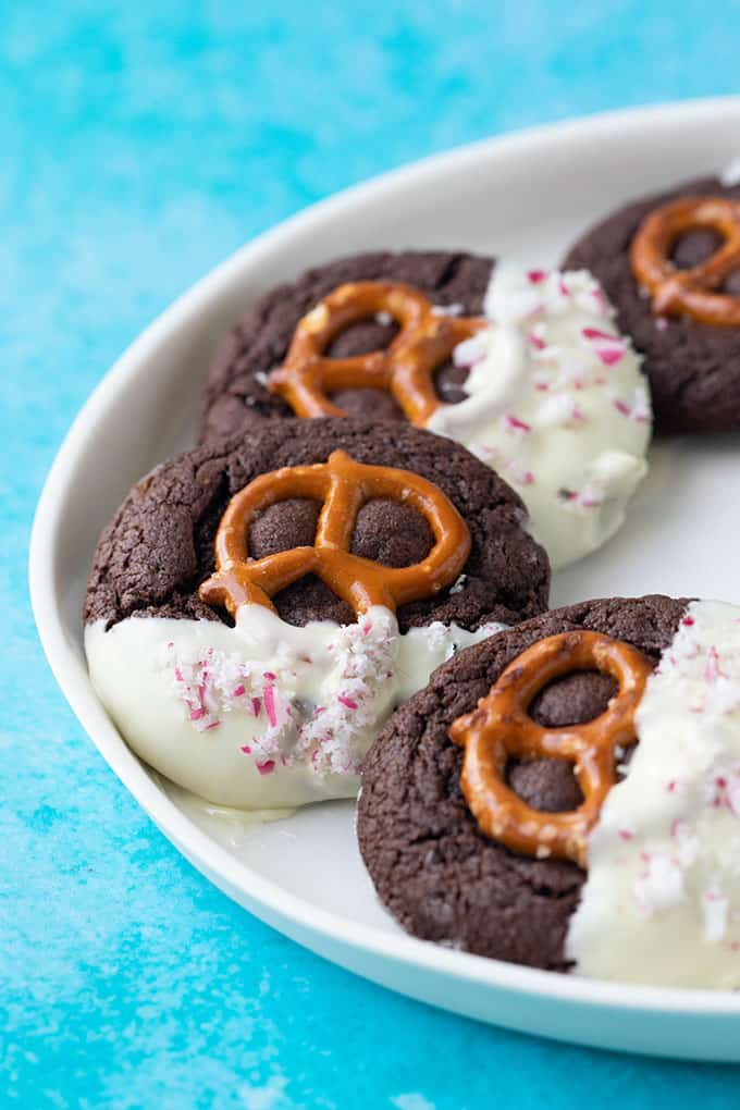 A plate of homemade Chocolate Pretzel Cookies