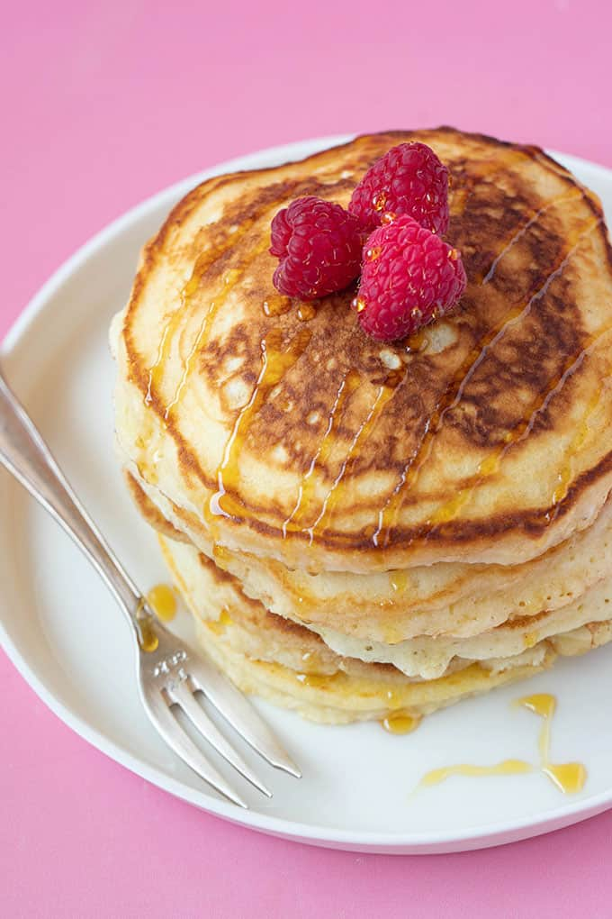 Top view of a stack of Fluffy American Pancakes